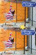 紫宁穿蓝白红毛衣 坐在购物车里超级可爱_娱乐组图