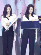 瘦下来了?蒋欣穿阔腿裤显优雅-中国女明星