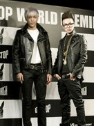 BIGBANG一身皮衣帅气亮相 摇滚造型瞩目-韩国男明星