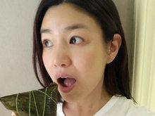 陈妍希,素颜,吃肉粽,