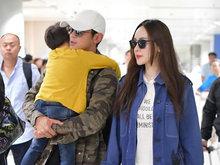 杜江抱熟睡儿子 和霍思燕一起现身机场