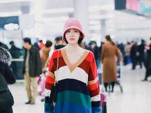 唐艺昕,上海,机场,少女,毛衣,八卦爆料,国内女明星,