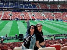 容祖儿阿Sa谢霆锋相约俄罗斯看世界杯 三人搞笑合照