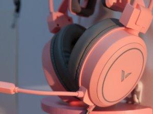 雷柏VH610虚拟7.1声道游戏耳机清莹粉图赏