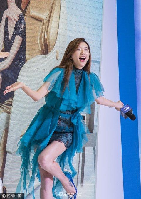 林志玲空降沈阳无双某活动蓝色连衣裙大秀美大唐出席表情包#167图片